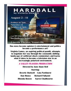 "Valley Players and Lincoln Theater Present ""Hardball--by Victoria Steward"""