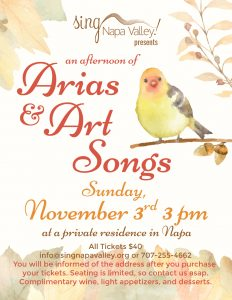 Sing Napa Valley presents Arias & Art Songs